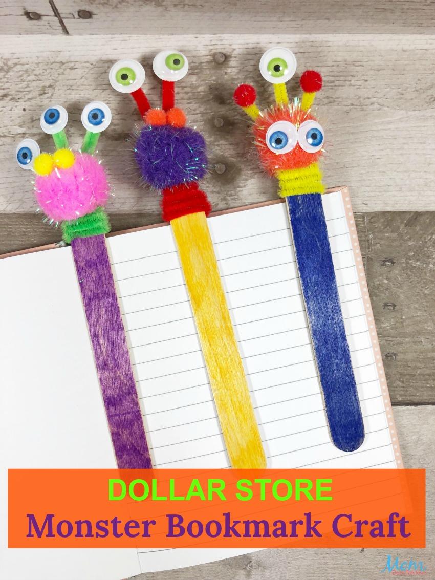 Dollar Store Monster Bookmark Craft for Kids Dollar Store Bookmark Craft for Kids #diy #dollarstorecraft #funstuff