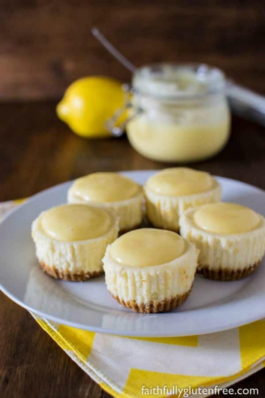 Gluten Free Lemon White Chocolate Cheesecakes