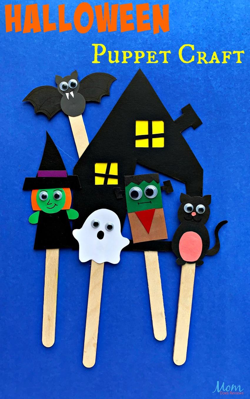 Adorable Halloween Puppet Craft for Kids #halloween #craft #puppets