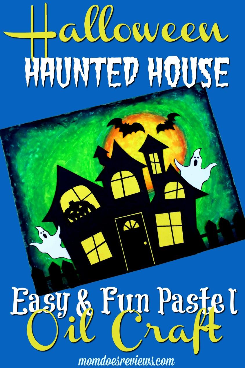 Easy Halloween Pastel Oil Haunted House #halloween #craft #funstuff